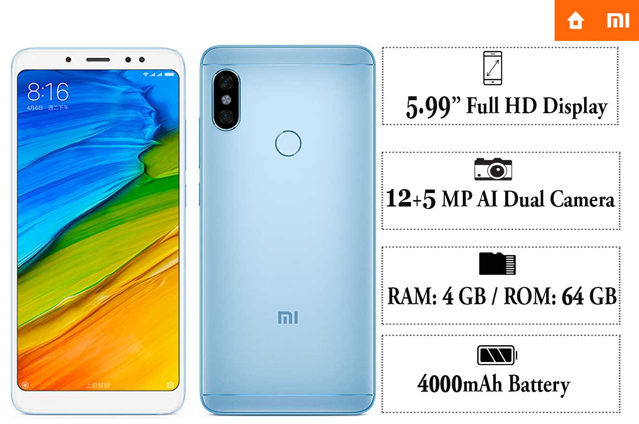 MI Redmi Note 5 AI Dual Camera ,M1803E7SG
